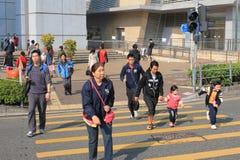 Скрещивание улицы в Гонконге Стоковые Фото