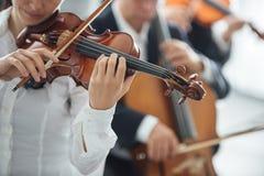 Скрипач выполняя с оркестром стоковые изображения