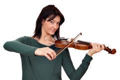 Скрипач девушки на белизне Стоковая Фотография
