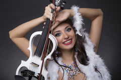 Скрипач девушки Стоковое Фото