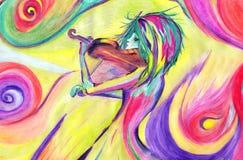 Скрипач чертежа карандаша Стоковое Фото