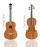 скрипка вектора гитары установленная Стоковые Фото