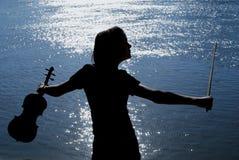 скрипка игрока Стоковая Фотография RF