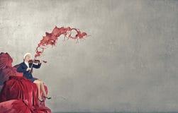 Скрипка игры женщины Санты Стоковая Фотография RF