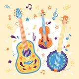 Скрипка иллюстрации вектора руки вычерченная, банджо, и акустическая гитара Знамя для фестиваля живой музыки иллюстрация вектора