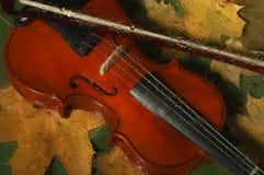 Скрипка и листья осени Стоковое Изображение RF