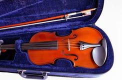 скрипка крупного плана случая 8 смычков Стоковые Изображения