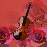 Скрипка на красном цвете Стоковое Изображение