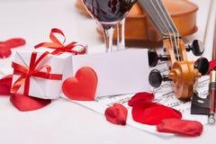 Скрипка, примечания и красное вино Стоковые Изображения RF