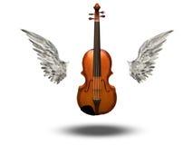 Скрипка с крылами иллюстрация вектора