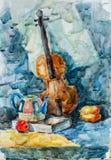 Скрипка, чертеж акварели Стоковые Фотографии RF