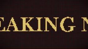 скроллинг знака последних новостей пиксела 4K на темноте - красном цифровом экране СИД График движения и предпосылка анимации бесплатная иллюстрация