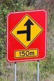 Скрытая сторона дороги предупреждающая 150m 1 Стоковая Фотография RF
