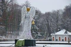 Скульптура ангела рождества в барочном парке дворца Hellbrunn Австралия salzburg Стоковые Изображения