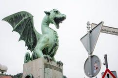 Скульптура дракона в Любляне, Словении Стоковое Изображение RF