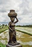Скульптура женщины на зеленых полях риса Стоковая Фотография