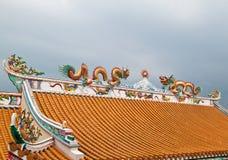 скульптура крыши дракона Стоковое Изображение
