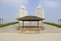 Скульптура лошади мавзолея khan genghis, самана rgb стоковое изображение