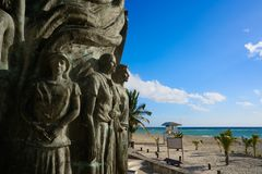 Скульптура Майя Playa del Carmen портальная Стоковые Изображения RF