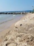 Скульптура песка акулы водой стоковое изображение