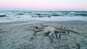 Скульптура песка, пляж Vadu, Румыния стоковая фотография
