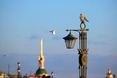 Скульптура фонарик на мосте Ioanovsky на острове зайцев где обнаружена местонахождение крепость Питер и Пол Исторический и стоковые изображения rf