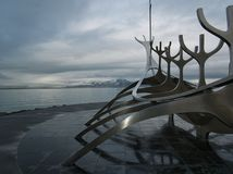 Скульптура Solfar на побережье Рейкявика стоковое фото