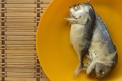 Скумбрия в оранжевом блюде на циновке Стоковое фото RF