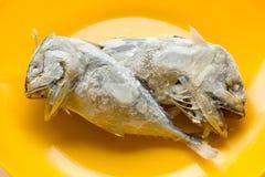 Скумбрия в оранжевом блюде Стоковая Фотография