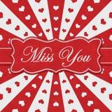 Скучайте по вам сообщение с красными сердцами с красными и белыми разрыванными линиями иллюстрация вектора