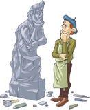 Скульптор и его автопортрет иллюстрация вектора