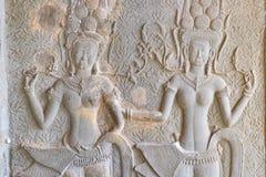 Скульптура барельеф на Angkor Wat, Камбодже Стоковые Изображения