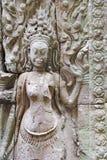 Скульптура барельеф на Angkor Wat, Камбодже Стоковое фото RF