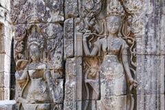 Скульптура барельеф на Prasat Bayon, Камбодже Стоковое Фото