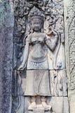 Скульптура барельеф на Prasat Bayon, Камбодже Стоковое Изображение