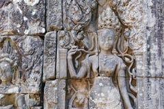 Скульптура барельеф на Prasat Bayon, Камбодже Стоковые Фото