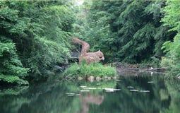 Скульптура белки с прудом Стоковое Изображение