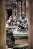 Скульптура богов буддийского виска Камбоджи Стоковое Фото