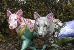 Скульптура 2 волка Стоковая Фотография RF