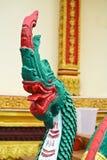Скульптура лестницы Naga в виске Lao Стоковое Изображение