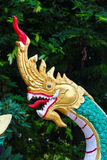 Скульптура лестницы Naga в виске Lao Стоковые Изображения