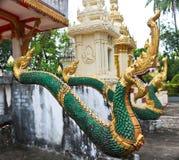 Скульптура лестницы Naga в виске Lao Стоковое Изображение RF