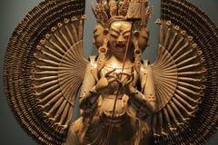 Скульптура женского крупного плана бодхисаттвы Стоковая Фотография