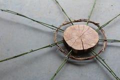 Скульптура искусства природы древесины, лоз, и бамбука стоковое изображение
