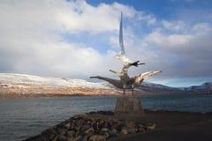 Скульптура на гавани Akureyri, Исландии Стоковая Фотография RF