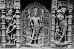 Скульптура лорда Vishnu на колодце шага Patan Стоковое Изображение