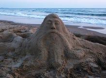 Скульптура песка и море Стоковые Фотографии RF