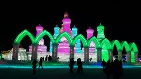 Скульптура фестиваля льда Харбин стоковая фотография