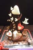 Скульптура шоколада на теме влюбленности стоковое изображение rf