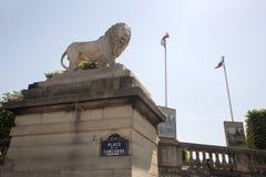 Скульптура льва на месте de Ла конкорде Стоковые Фото